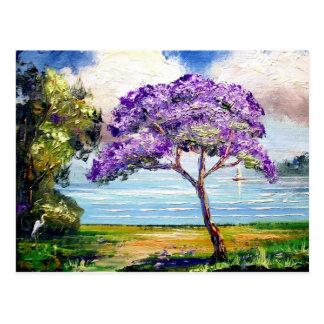 Jacaranda-Baum-tropische Kunst Postkarte