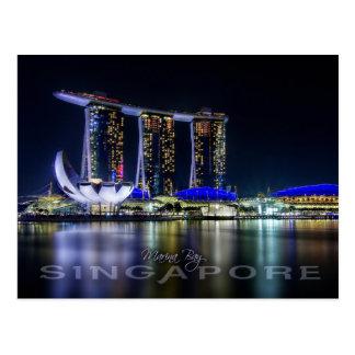 Jachthafen-Bucht, Singapur nachts Postkarte