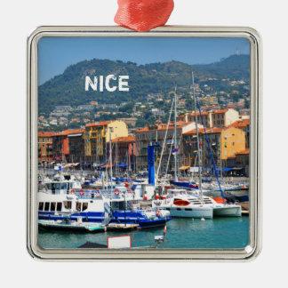 Jachthafen in Nizza, Frankreich Silbernes Ornament