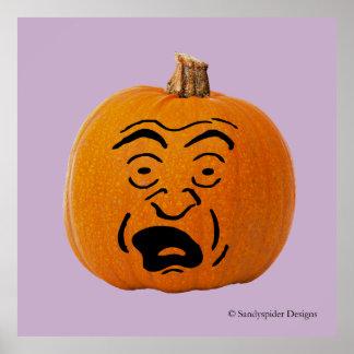 Jack o Laterne erschrak Gesicht, Halloween-Kürbis Poster