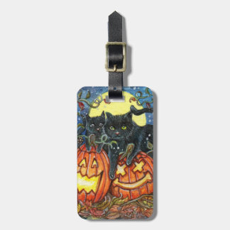 Jack-O' Laterne und schwarze Katzen Kofferanhänger