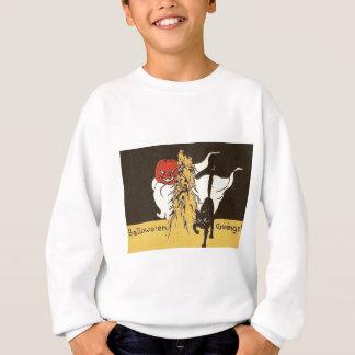Jack O Laternen-Geist-schwarze Katze Cornstalk Sweatshirt