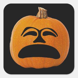 Jack o Laternen-unglückliches Gesicht, Quadratischer Aufkleber