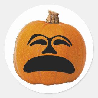 Jack o Laternen-unglückliches Gesicht, Runder Aufkleber