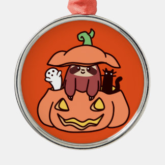 Jack O LaterneSloth Silbernes Ornament