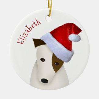 Jack Russell im Weihnachtsmannmütze-Weihnachten Keramik Ornament