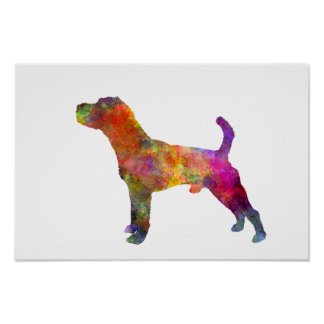 Jack Russell Terrier 01 in Watercolor 2 Poster