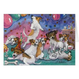 Jack-Russell-Terrier an einem Party Karte