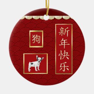 Jack-Russell-Terrier, ausgebogtes Gold, roter Keramik Ornament