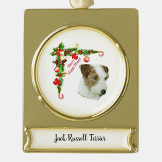 Jack-Russell-Terrier Banner-Ornament Gold