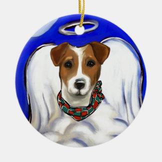 Jack-Russell-Terrier-Engel Keramik Ornament