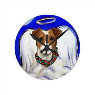 Jack-Russell-Terrier-Engel Runde Wanduhr