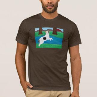 Jack-Russell-Terrier-Hund, der Frisbee-T - Shirt