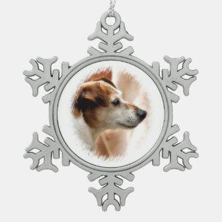 JACK-RUSSELL-TERRIER-HUND SCHNEEFLOCKEN Zinn-Ornament
