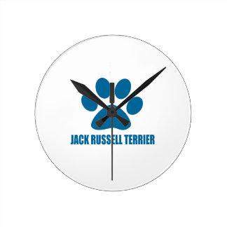 JACK-RUSSELL-TERRIER-HUNDEentwürfe Runde Wanduhr