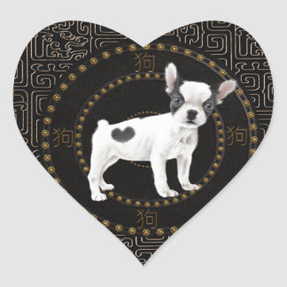 Jack-Russell-Terrier, runde Form, unterzeichnen Herz-Aufkleber