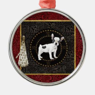 Jack-Russell-Terrier, runde Form, unterzeichnen Silbernes Ornament