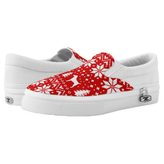 Jack-Russell-Terrier-Silhouette-Weihnachtsmuster Slip-On Sneaker