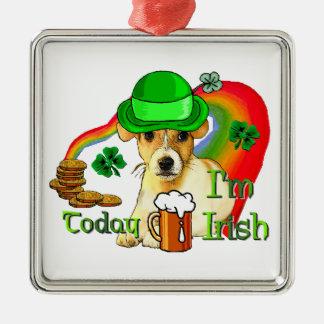 Jack-Russell-Terrier-St. Patricks Silbernes Ornament