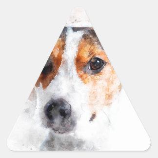 Jack-Russell-Terrierwatercolor-Kunst Dreieckiger Aufkleber