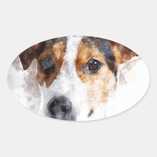 Jack-Russell-Terrierwatercolor-Kunst Ovaler Aufkleber