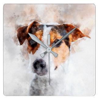 Jack-Russell-Terrierwatercolor-Kunst Quadratische Wanduhr