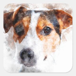 Jack-Russell-Terrierwatercolor-Kunst Quadratischer Aufkleber