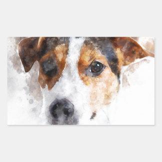 Jack-Russell-Terrierwatercolor-Kunst Rechteckiger Aufkleber