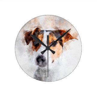 Jack-Russell-Terrierwatercolor-Kunst Runde Wanduhr