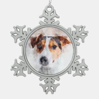 Jack-Russell-Terrierwatercolor-Kunst Schneeflocken Zinn-Ornament