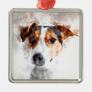 Jack-Russell-Terrierwatercolor-Kunst Silbernes Ornament