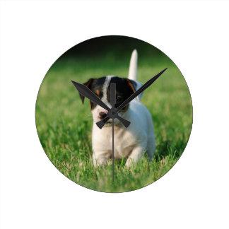 Jack-Russell-Terrierwelpe Runde Wanduhr