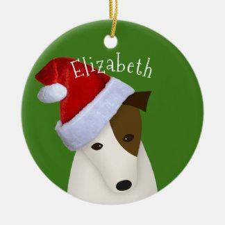 Jack-Russell-WeihnachtsWeihnachtsmannmütze Keramik Ornament
