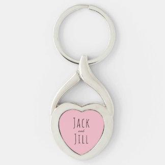 Jack und Jill/kundenspezifische Paare Silberfarbener Herz Schlüsselanhänger