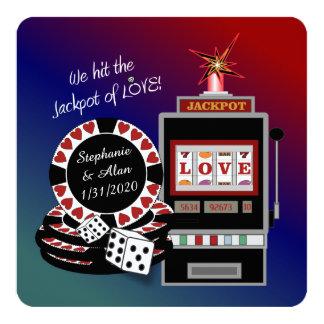 Jackpot der Liebe-Empfangs-Einladung Quadratische 13,3 Cm Einladungskarte