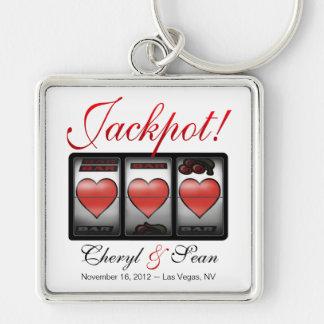 Jackpot-Herzen tun wir es in Vegas Silberfarbener Quadratischer Schlüsselanhänger