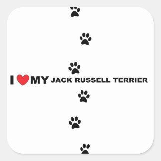 Jackrussell-Terrier-Liebe Quadratischer Aufkleber