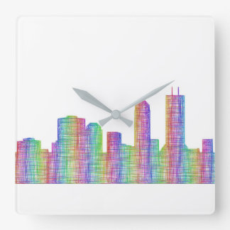 Jacksonville-Stadt-Skyline Quadratische Wanduhr