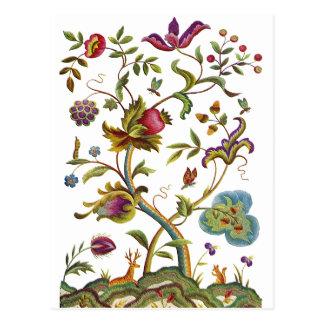 Jacobean Crewel-Stickerei-Baum des Lebens Postkarte