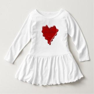 Jacqueline. Rotes Herzwachs-Siegel mit Kleid