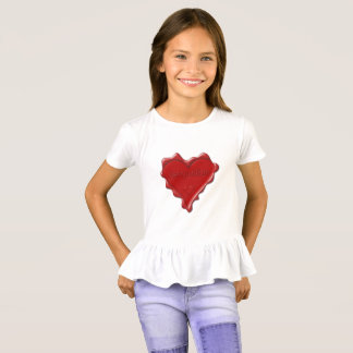 Jacqueline. Rotes Herzwachs-Siegel mit T-Shirt