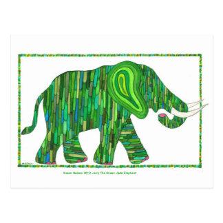 Jade-Elefant-Postkarte Jerry grüne Postkarte