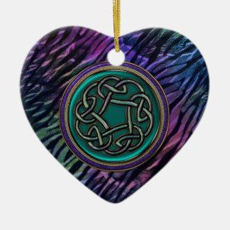 Jade-Grün-Metallceltic-Knoten Keramik Herz-Ornament