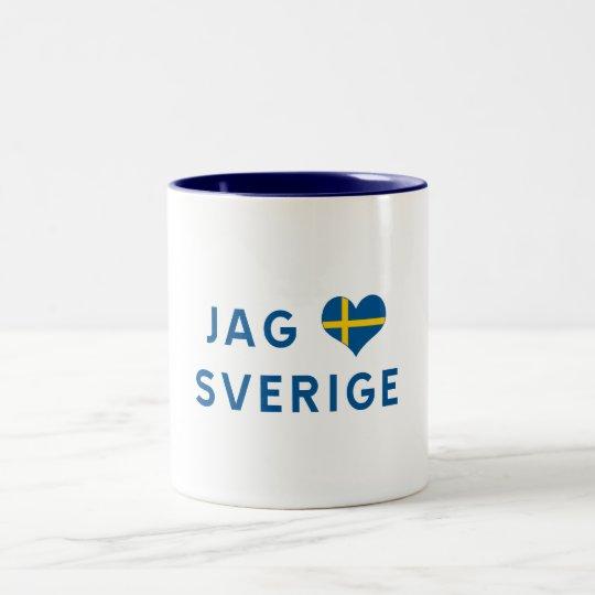 Jag älskar Sverige - I love Sweden Zweifarbige Tasse