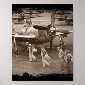 Jagdflieger, die auf Thunderbolts P-47 ausbilden Plakatdruck