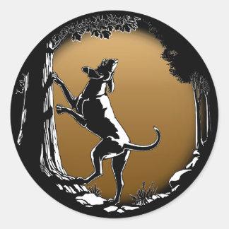 Jagdhund-Aufkleber-Jagd-Hundekunst-Aufkleber Runder Aufkleber