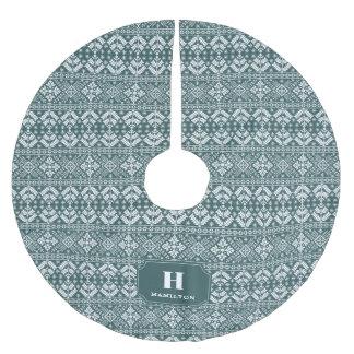 Jäger-Grün-u. Weiß-Strickjacke-Muster-Monogramm Polyester Weihnachtsbaumdecke