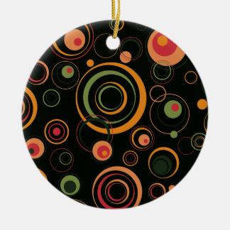 Jäger-Grün und Pfirsich-spielerische Retro Kreise Rundes Keramik Ornament