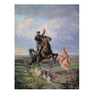 Jäger mit den Borzois, 1872 Postkarte