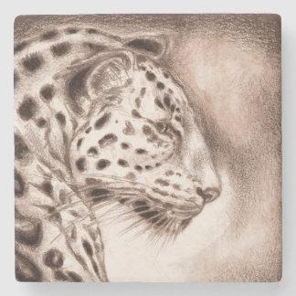 Jaguar in der warmen Sepia-Kunst Steinuntersetzer